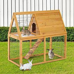 Wooden Rabbit Hutch Pet Animal Bunny Cage Chicken Hen Coop Habitat W/Run Rabbit Cages Outdoor, Outdoor Rabbit Hutch, Indoor Rabbit, Rabbit Hutch Plans, Rabbit Hutches, Wooden Rabbit, Pet Rabbit, Bunny Hutch, Bunny Cages