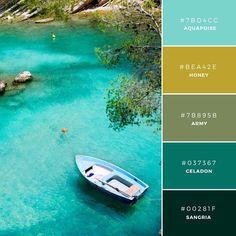 Color Palette: Build Your Brand: 20 Unique and Memorable Color Palettes to Inspire You – Design School Colour Pallette, Colour Schemes, Color Patterns, Color Combinations, Ocean Color Palette, Palette Design, Tropical Colors, Color Stories, Color Swatches