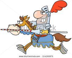 Knight Riding Horse. Vector Illustration