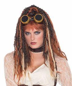 Havoc Dreads Wig Steampunk Girl Fancy Dress up Halloween Adult Costume Accessory for sale online Goth Halloween Costume, Halloween Wigs, Halloween 2017, Pigtail Wig, Dreadlock Wig, Sisterlocks, Fantasy Brown, Long Hair Wigs, Edwardian Clothing