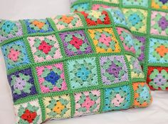 Crochet pillow Colorful Granny Squares Cotton Yarn and Cotton