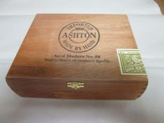 "Wooden Cigar Box-- Ashton Aged Maduro #40   .   7.5 x 6.5"" x 2.5""  This is the closest one I can find to what I have here."