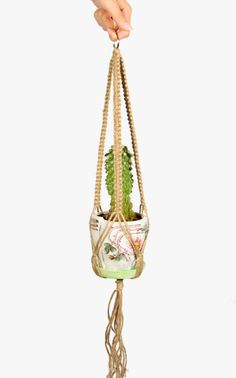 20 inches NATURAL JUTE Macrame  Plant Pot  Hanger - Gift Idea - Metal Ring - Home Decor - 3mm Cord Hanging Planter - Cactus Holder by DanceOfTheSoul on Etsy