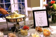 My team at Hewlett Packard treated me to a Mashed Potato Bar for my birthday a few years back. Loved it! Mashed Potato Bar, Mashed Potatoes, Baked Potato, Reception Food, Reception Ideas, Wedding Reception, Chafing Dishes, Food Stations, Feeding A Crowd