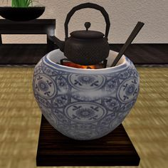 Hibachi, Japanese fire urn, and Tetsubin, cast iron kettle 火鉢と鉄瓶 Japanese Home Decor, Japanese House, Japanese Hibachi, Coin Café, Irori, Japanese Tea Ceremony, Japanese Porcelain, Tea Art, Tea Service