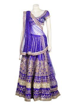 Glooming blue color bridal lehenga choli available online