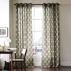 Ikat Ogee Linen Window Panel - modern - curtains - by West Elm Stenciled Curtains, Modern Curtains, Patterned Curtains, Bedroom Curtains, Linen Curtain, Printed Curtains, Curtain Fabric, Office Curtains, Windows
