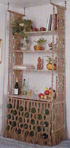 Macrame Patterns Room Divider Wine Rack Shelf Curtain