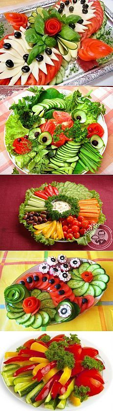 Pretty veggie arrangements.
