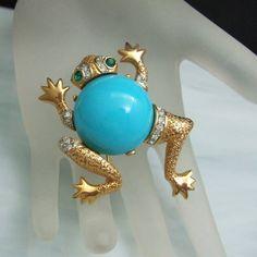 Vtg Rhinestone Brooch Frog Pin Aqua Lucite Belly Gem-Craft Signed Large  #GemCraft