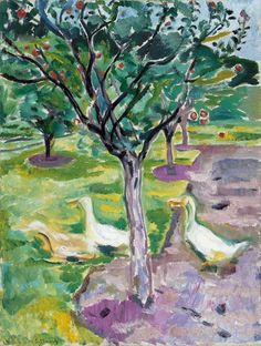 Edvard Munch (Norwegian, 1863-1944), Geese in an Orchard, c. 1911. Oil on canvas, 90 x 68 cm.