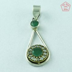 Beautiful Designer Real 925 Sterling Silver Emerald & CZ Pendant Jewellery…