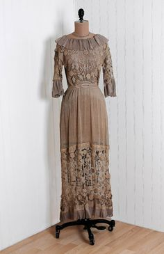 1910's Champagne Embroidered Filet-Lace and Pleated Sheer Chiffon French Portrait-Collar Edwardian Evening Dress