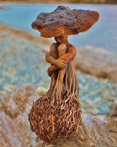 Feminine Figures Driftwood Sculptures by Debra Bernier. CutPasteStudio  Illustrations, Entertainment, beautiful,creativity, Art,Artist,Artwork,nature,Sculptures, Driftwood.