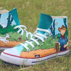 Hand Painted TinTin Converse #Cool, #HandPainted, #Shoes