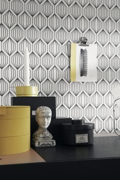 A repeated geometric motif creates a three-dimensional effect on the Eco Wallpaper Capriana Floral Burst Wallpaper . The black and white wallpaper draws. Wallpaper, Room Design, Wall Wallpaper, Small Decor, Interior, Geometric Wallpaper, Wallpaper Accent Wall, Black And White Wallpaper, Retro Tapet