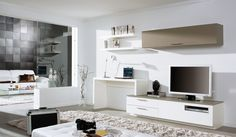 Love the tv / desk and wall mounted unit .. looks as if it's all one collection