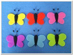 Motýl plstěný - sada 6 kusů Motýl plstěný - sada 6 kusů. Balení obasahuje 6 motýlků z plsti tloušťky 3 mm různých barev. Vhodné k aranžování, přízdobám, tvoření s dětmi, jako základ nejrůznějších dekorací. velikost - 6 cm