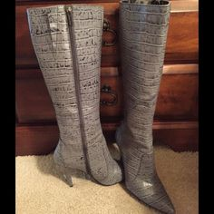 """CROCO PATTERN GRAY TALL BOOTS!! """"Colin Stuart"""" Faux Leather in CROCO Pattern. These Boots Are very stylish but too tall for me. Worn only once! No scratches  or scuffs in boots or heels. The only FLAW can be seen in picture Three Right on the tip Of the front. This is how they  came when I purchased and did not notice. It can be easily repaired/hidden. They are Tall and sit Just below the knee. Colin Stuart Shoes Over the Knee Boots"""