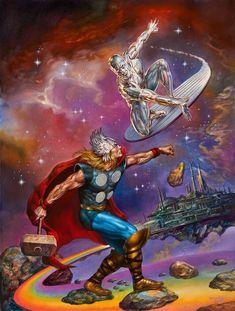 Thor vs Silver Surfer by Boris Vallejo Marvel Comic Universe, Marvel Comics Art, Avengers Comics, Marvel Comic Books, Comics Universe, Comic Book Characters, Marvel Characters, Marvel Heroes, Comic Books Art