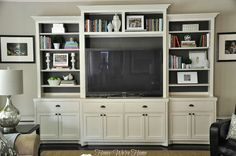 Honey We're Home: Painted Media Cabinet Bookshelf Styling Paint my family room cabinet perhaps? Living Room Built Ins, My Living Room, Home And Living, Living Spaces, Living Area, Painted Entertainment Centers, Entertainment Ideas, Bookshelf Entertainment Center, Large Entertainment Center