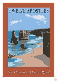 Vintage Poster - Twelve Apostles Victoria Australia - Beach - Great Ocean Road - Travel