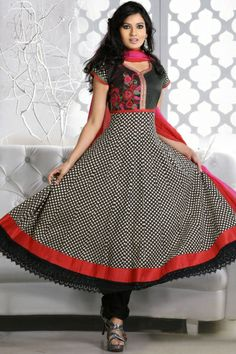 Traditional Printed Party Anarkali Kameez; Black Cotton Printed Casual and Party Anarkali Kameez