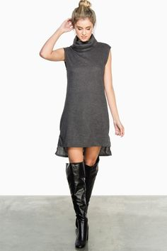 ShopSosie Style : Aren Ribbed Dress in Charcoal