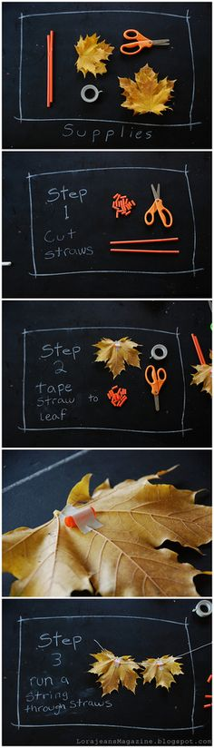 DIY leaf garland for fall - easy - tape pieces of straw on the back of each leaf, then string a string through the straws! Autumn Crafts, Nature Crafts, Thanksgiving Crafts, Holiday Crafts, Holiday Fun, Diy Autumn, Diy Girlande, Leaf Garland, Thanksgiving