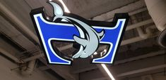 """""""Custom LED illuminated Channel box with full colour vinyl printed face for """"Etobicoke Junior Dolphins Girls Hockey"""" Toronto Signs project completion. Hockey Girls, Dolphins, Toronto, Channel, Led, Colour, Printed, Signs, Face"""