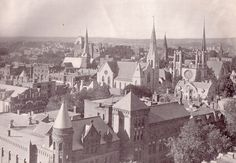 Worcester, MA around 1907 looking Southwest from the State Mutual Building. Worcester Massachusetts, Family Origin, Lithuania, East Coast, View Photos, New England, Places To See, Paris Skyline, Past