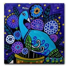 4x4 Peacock Art Tile Ceramic Coaster by by HeatherGallerArt, $20.00