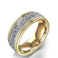 Vintage Scroll Design Men's Ring in 14k Two-Tone Yellow Gold