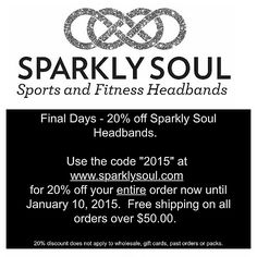 "NEW PRODUCT ALERT! @sparklysoulinc Reflective headband is available online at http://shop.sparklysoul.com/Reflective-Headband-Black-REFLECTIVEBLACK.htm 20% off now until 1/10 w/code ""2015"" at www.sparklysoul.com. Free shipping on $50+ SHARE on any social media w/hashtag #sparkleandreflectin2015, follow us+ tag Sparkly Soul (@sparklysoulinc) to enter to win 1 reflective headband & 1 Sparkly Soul headband of choice! 5 winners chosen! Enter through 11:59pm PST on 1/10. Winners announced on 1/12!"