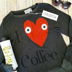 Sale! Wildfox I Love Coffee Beach Jumper Sold out everywhere! Absolutely adorable (and super- soft!), NWT Wildfox long- sleeve, graphic print beach jumper in vintage black. Wildfox Tops Sweatshirts & Hoodies