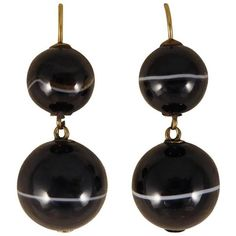 Preowned Antique Late Victorian Banded Agate Drop Earrings (3.455 BRL) ❤ liked on Polyvore featuring jewelry, earrings, drop earrings, multiple, antique earrings, antique drop earrings, hook earrings, victorian earrings and agate jewelry