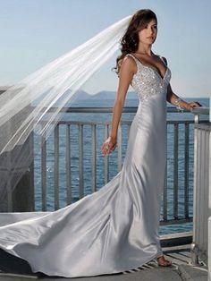 2013 Best Selling Trumpet/Mermaid Sweetheart Chapel Train Sleeveless Elastic Woven Satin Beach Wedding Dresses
