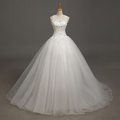 Ball+Gown+Wedding+Dress+Court+Train+Jewel+Lace+/+Tulle+with+Appliques+/+Beading+/+Lace+–+USD+$+129.99