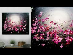 Step by step acrylic painting on canvas for beginner moonlight night painting Basic Painting, Easy Canvas Painting, Beginner Painting, Acrylic Painting Canvas, Canvas Art, Diy Canvas, Acrylic Painting For Beginners Step By Step, Canvas Paintings, Love Painting