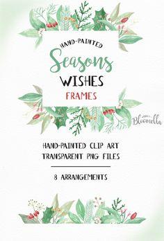 8 Watercolour Seasons Wishes Festive Leaf Frames Clipart