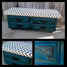 I want to create a bench out of an old coffee table for the foot of my bed.....wouldn't use these colors.