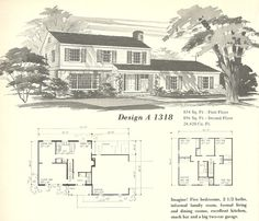Another really popular plan and style from my neighborhood.   Vintage House Plans, Farmhouses