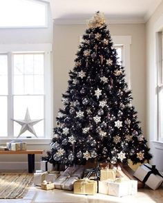 Style, substance, and sophistication — the Tuxedo Black Christmas Tree has it all. Some day black Christmas Tree . you will be mine, TOO! Black Christmas Tree Decorations, Christmas Tree Sale, Elegant Christmas Decor, Creative Christmas Trees, Black Christmas Trees, Snowflake Decorations, Noel Christmas, Beautiful Christmas, Christmas Themes