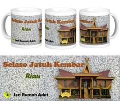 """Mug Keramik tema seni budaya Indonesia, edisi khusus rumah adat """"Selaso Jatuh Kembar"""" Riau.    Cocok buat hadiah / souvenir etnik nusantara."""