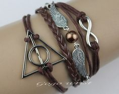 antique harry potter deathly hallows bracelet, cute charm jewelry fashion ,unlimited wing bracelet -z134 on Etsy, $5.59