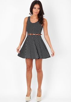 Lionna Polka Dot Skater Dress