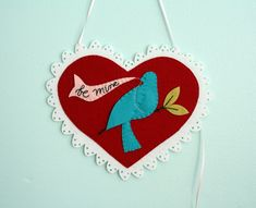 Be My Bluebird ~ Wool Felt Valentine tutorial || Melissa from Checkout Girl for Sew,Mama,Sew!