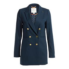 Geet a sleek and elegant look with a classic navy blazer with an elongated fit, two front pockets and decorative buttoning in shiny gold colour.    - Longer fit - Gold coloured sleeve buttoning - Patterned inner lining  - Button fastening at front  - Contrast colour underneath the collar  - Length 75 cm in size 38  Machine wash 30° gentle wash Materials:65% POLYESTER 35% VISCOSE Item code:7257921