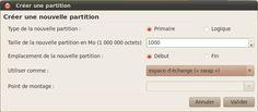 Création de la partition swap