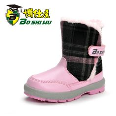 Girls shoes winter thermal plush princess shoes slip-resistant knee-high child snow boots cotton-padded shoes bs3006 $35.66